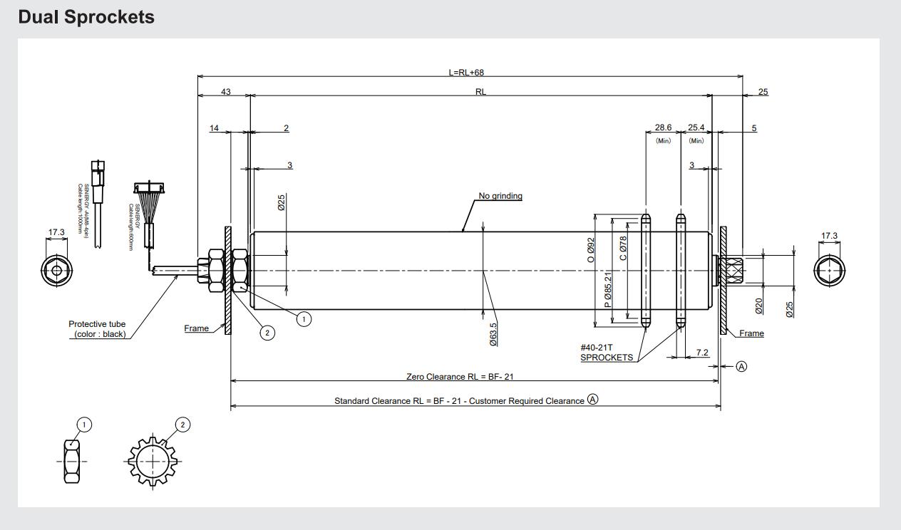 Pallet Motor Roller Dimensions Dual Sprockets